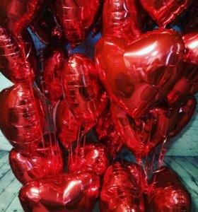 Воздушные шары. Фольгированные сердца