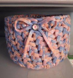 Интерьерные корзинки из трикотажной пряжи