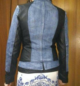 Куртка кожанно-джинсовая