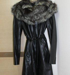 Кожаная куртка пальто чернобурка Снежная Королева