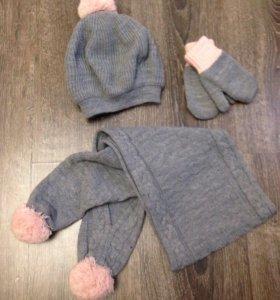 Комплект Войчик шапка+шарф+варежки серо-розовый