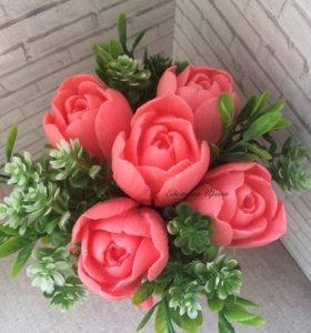 Ароматный букет из мыльных тюльпанов