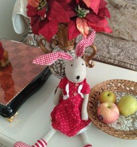 Кукла Зайчиха интерьерная 60 см новая тяжелая