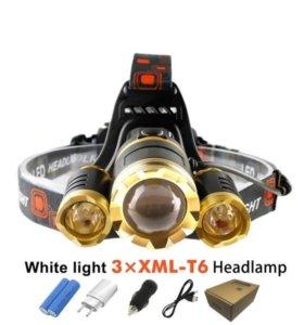 Налобный светодиодный фонарик на лучевой линзе