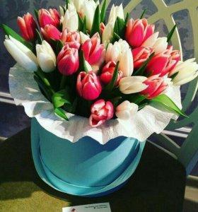 Тюльпаны в коробке спб