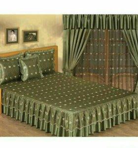 Новый Комплект покрывало для спальни и шторы