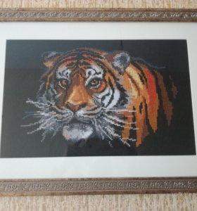 """Картина вышитая крестиком """"Тигр, хозяин ночи"""""""