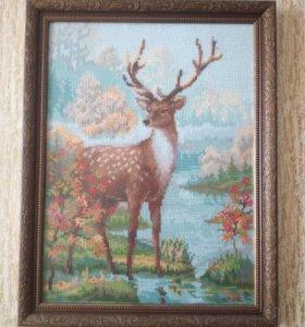 """Картина вышита крестиком """"Благородный олень"""""""