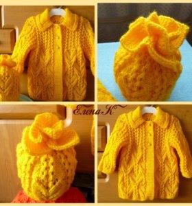 Вязаное пальто + шапочка