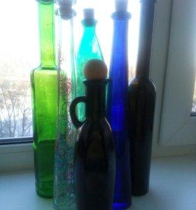 Бутылки, стекло. От 25 до 40см, 6 штук
