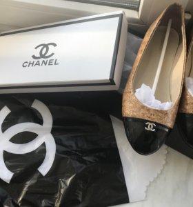 Новые женские балетки Chanel пробка лаковые