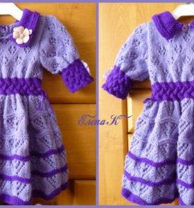 Вязаное платье с кокеткой