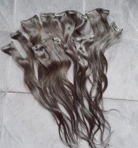Черные волосы на заколках 60 см. Трессы