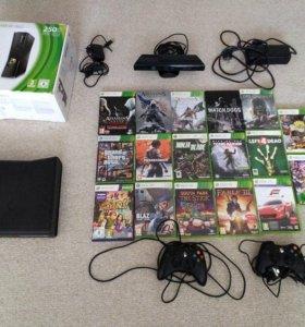 Xbox 360 slim 250гб + Kinect +17 игр