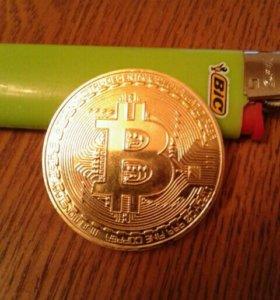 Подарочная монета биткоин