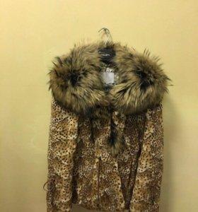 Куртка стриженный песец, воротник лиса, 44 размер