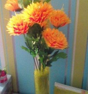 Хризантемы атласные 75 см, 7 голов