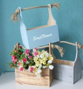 Ящики для цветов и упаковки подарков с ручкой