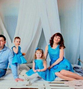 Комрлект платьев family look