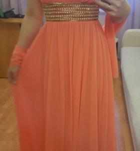 Красивое длинное платье , каралового цвета