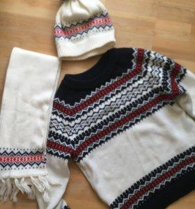 Свитер, шапка и шарфик+ варежки