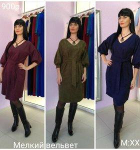 Платье микровельвет Дама М: XXL