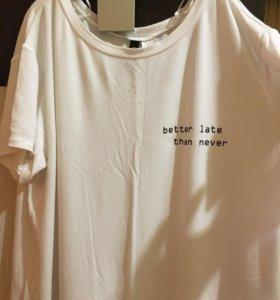 удлинённая футболка h&m