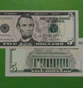США 5 долларов 2009 г. UNC Пресс