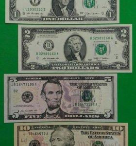 Набор банкнот США (1,2,5,10 долларов) 2009 г. UNC