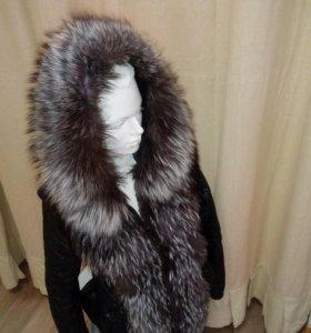 Куртка кожанная с чернобуркой