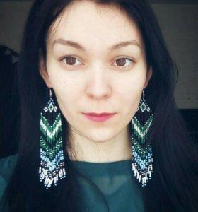 Серьги из бисера в этническом стиле