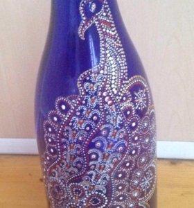 Ручная роспись-бутылка декоративная