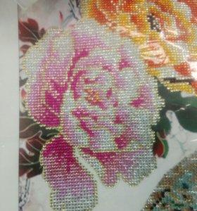 Готовая картина алмазная вышивка Павлины