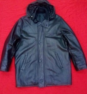 Утеплённая мужская куртка из натуральной кожи