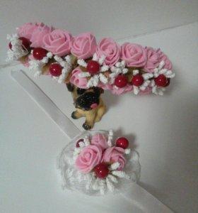 Набор ободок+браслет. Розовая нежность