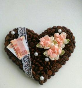 Сердце магнит кофейное