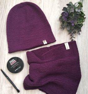 Вязанный комплект - шапка и снуд, шарф