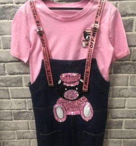 Новый костюм футболка комбинезон сарафан р. 42