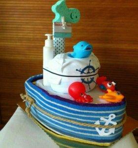 Тортик кораблик из памперсов