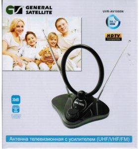 Антенна комнатная с усилителем МВ+ДМВ UVR-AV1000N
