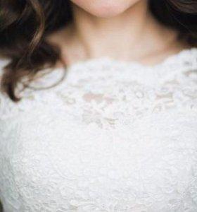 Короткое гипюровое свадебное платье