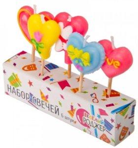набор свечей для торта 5 шт фигурных с сердечками