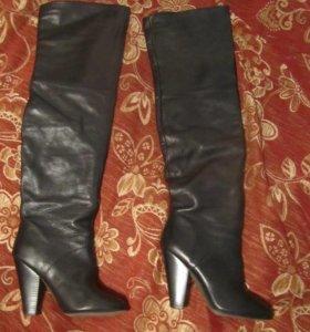 Сапоги-ботфорты кожаные