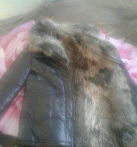 Куртка мужская, размер 48-52, кожа, енот, новая.