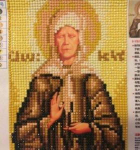 Икона Матроны алмазной вышивкой