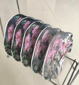 Блюдца для десерта «Розовая Орхидея» 6 шт.