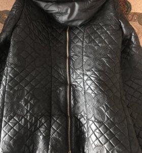 Кожаная куртка 🧥 тёплая на осень-весну
