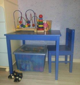 Детский стол и стул икеа