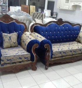 Царский диван (раскладываемый) с креслами