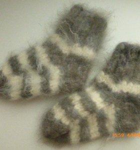 носки из ангоры ручной вязки, новые